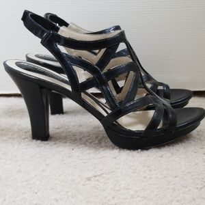 Naturalizer Size 9 Black Strappy Heels